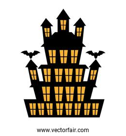 Big haunted house with bats  over white background cartoon.
