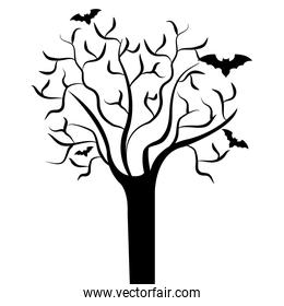 Tree branches with bats, halloween theme.