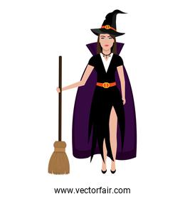 Beautiful witch costume with broomstick