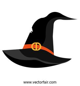 Witch hat cartoon isolated on white