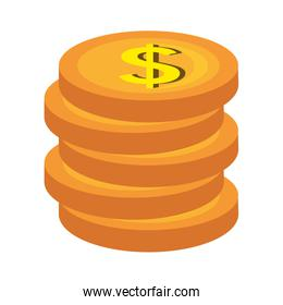 Gold coins isolated icon graphic.