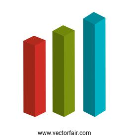 Colorful statistics bars in red, green and blue