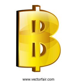 Currency money bitcoin symbol icon over white.