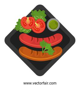 Delicious food and gastronomy graphic isolated flat design.