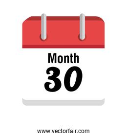 Calendar with 30 day and month icon.