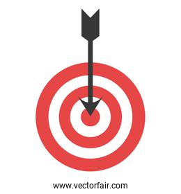Red and white target with arrow.