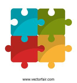 Puzzle piece isolated flat icon.