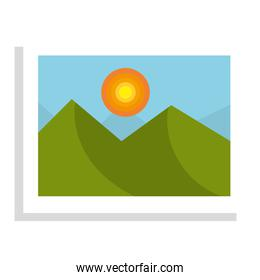 Beautiful landscape in a picture, isolated icon.