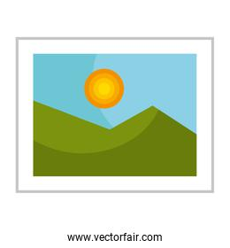 Nice landscape on picture isolated icon.