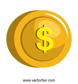 Currency coin isolated flat icon.
