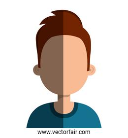 Young male profile, vector illustration.