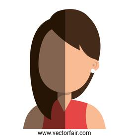 Young and beautiful woman isolated icon.