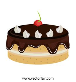 Delicious cake dessert isolated icon.