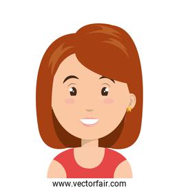 Young and beautiful woman cartoon face, vector illustration.