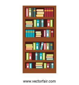 Home Library with books isolated flat icon, vector illustration.
