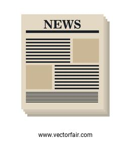 Newspaper isolated flat icon, vector illustration.