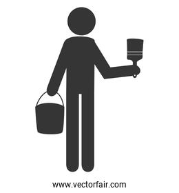 Worker with tools working pictogram design, vector illustration.