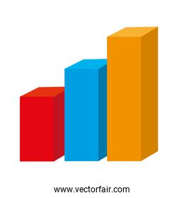 Statistics graphic isolated flat icon, vector illustration.
