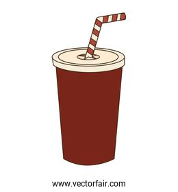 Drink in plastic cup, vector illustration.