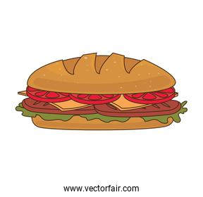 Delicious fast food and gastronomy, vector illustration.