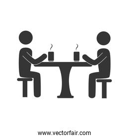 meeting table drinks icon, vector illustration