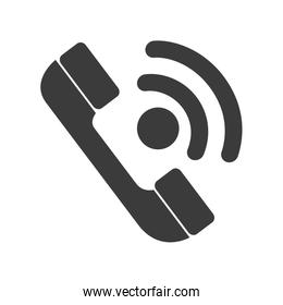 Telephone isolated flat icon in black and white colors.