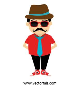 man hipster hat moustache isolated