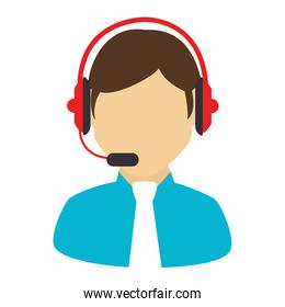 male call center headset icon vector illustration