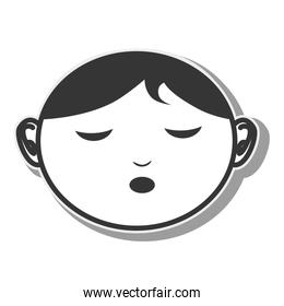 face woman closed eyes design