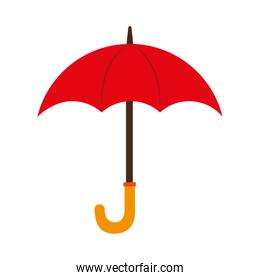 umbrella red wooden open isolated