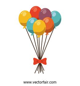 balloons colors ribbon fun isolated
