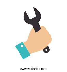 wrench hand construction grab icon vector graphic