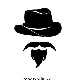 man mustache hat hipster western icon vector graphic