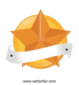 star gold ribbon baner winner vector graphic
