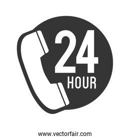 telephone call 24 hour icon vector graphic