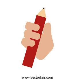 pencil hand hold icon vector graphic