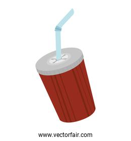 glass paper straw drink icon vector graphic