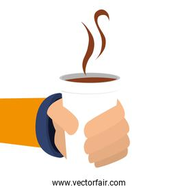coffee hot  hand icon vector graphic