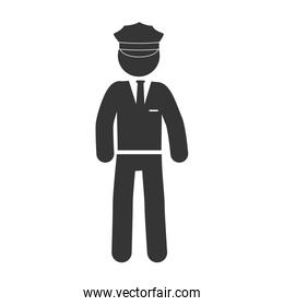 man chaffeur driver hat suit icon vector graphic
