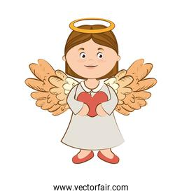 angel wing love heart icon vector