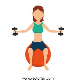 girl exercising and lifting dumbbells