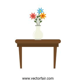 tea table with vase of flowers