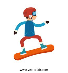 boy cartoon snowboard