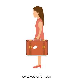 woman with a suitcase cartoon