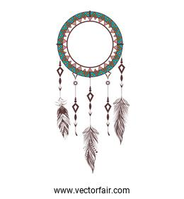dreamcatcher boho feather isolated icon