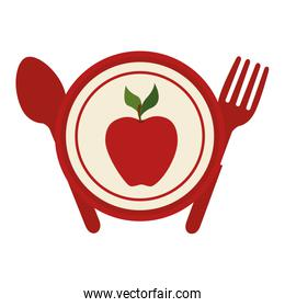 apple fruit plate with fork and knife