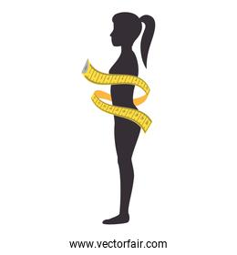 female woman body with a measurement