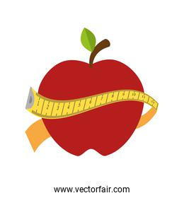 red apple with yellow measurement tape
