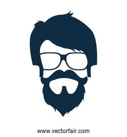 man face with beard and glasses