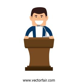 avatar man in a speech podium wooden